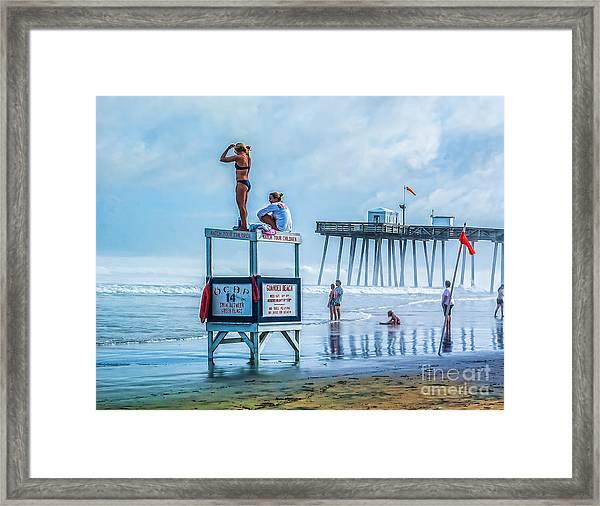 Foggy Beach View Framed Print
