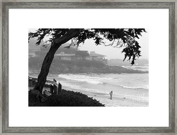 Foggy Day On Carmel Beach Framed Print
