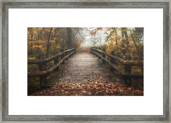Foggy Lake Park Footbridge Framed Print