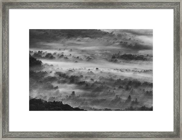 Foggy Morning On The Blue Ridge Parkway Framed Print