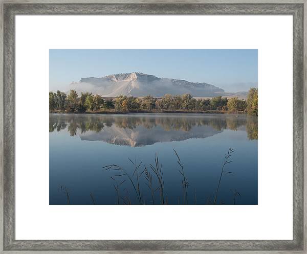 Foggy Morning - Scottsbluff Monument Framed Print