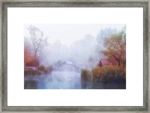 Foggy Mornings On The Lake Framed Print