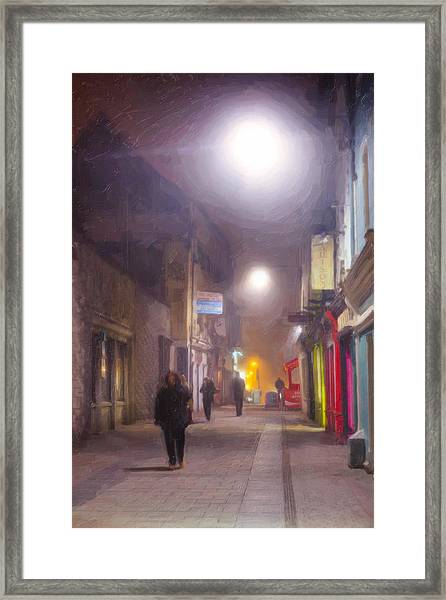 Foggy Night In The Heart Of Galway Framed Print by Mark Tisdale