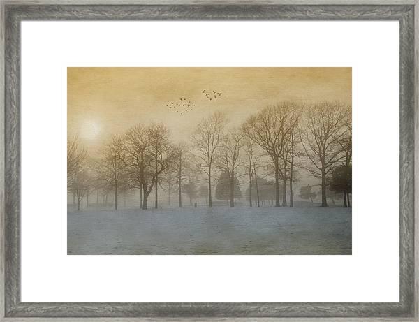 Foggy Sunset Framed Print
