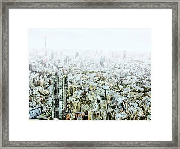 Foggy Tokyo View Framed Print
