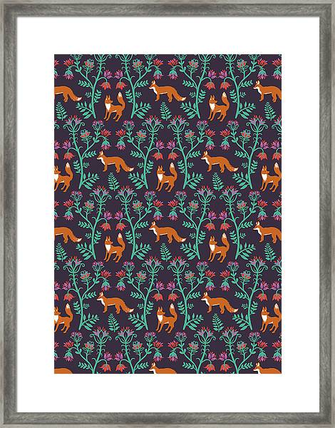 Folky Nature Vectors Damask Foxes.jpg Framed Print