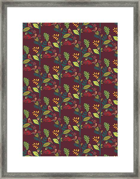 Folky Nature Vectors The Birds And The Berries.jpg Framed Print