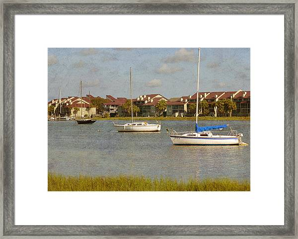 Folly Beach Boats Framed Print