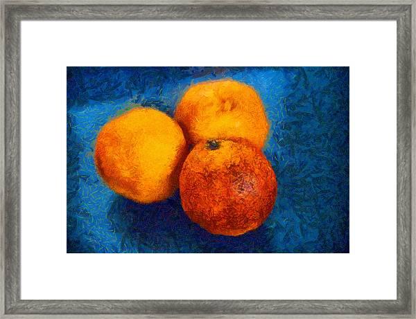 Food Still Life - Three Oranges On Blue - Digital Painting Framed Print