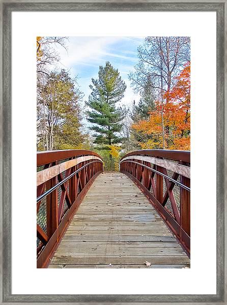 Foot Bridge In Fall Framed Print