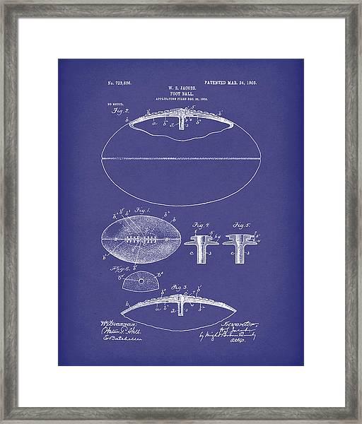 Football 1903 Jacobs Patent Art Blue Framed Print