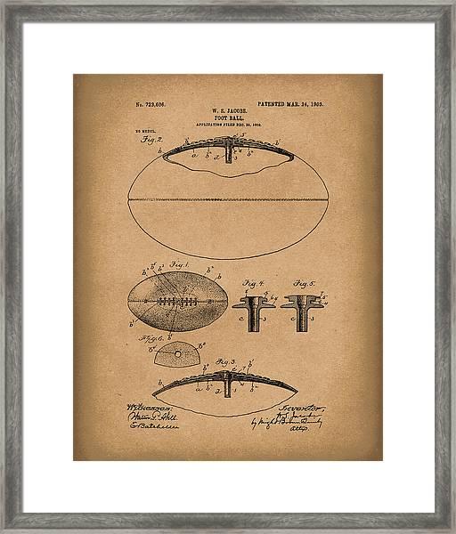 Football 1903 Jacobs Patent Art Brown Framed Print