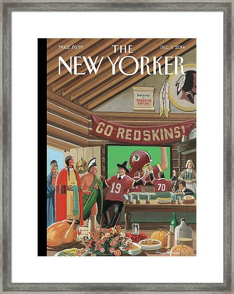 Football Fans Invite People Over For Thanksgiving Framed Print by Bruce McCall