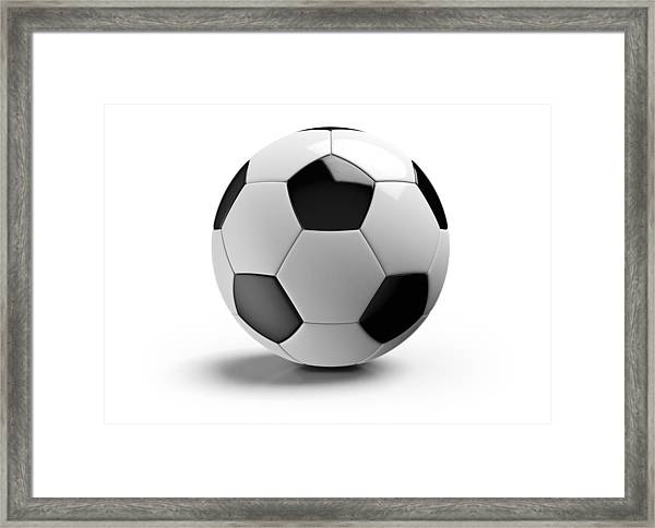 Football On A White Background Framed Print by Atomic Imagery