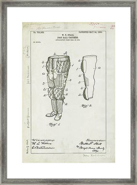 Football Pants Patent Drawing Framed Print