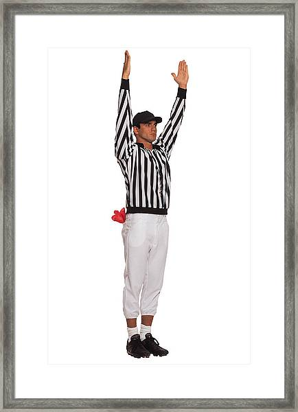 Football Referee Signaling Touchdown Framed Print by Comstock