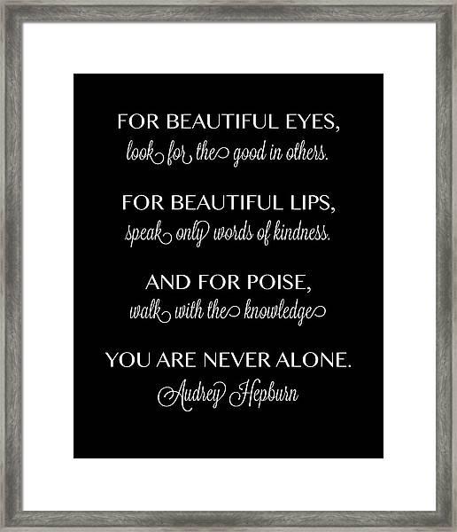 For Beautiful Eyes Framed Print
