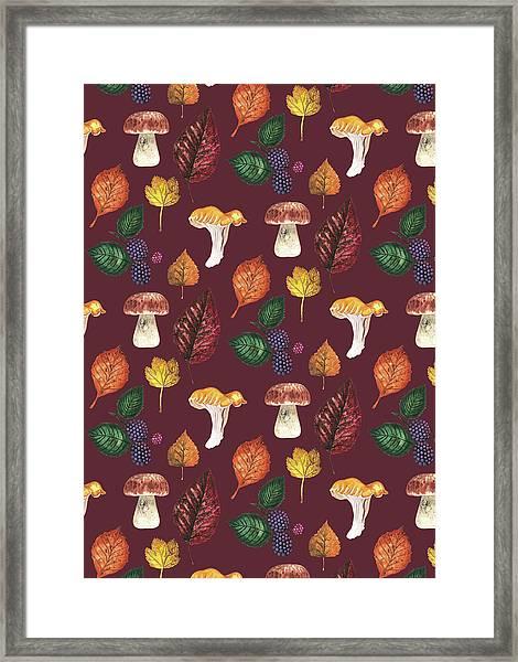 Foraging Multi Print With Brambles Leaves And Mushrooms_burgundy.jpg Framed Print