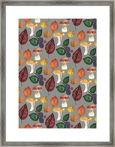 Foraging Multi Print With Brambles Leaves And Mushrooms_grey.jpg Framed Print