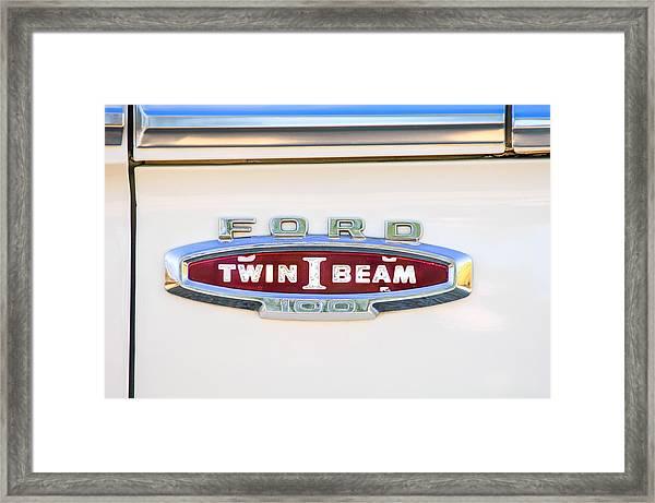 Ford 100 Twin I Beam Truck Emblem Framed Print