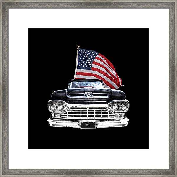 Ford F100 With U.s.flag On Black Framed Print