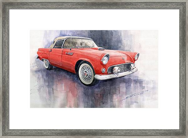 Ford Thunderbird 1955 Red Framed Print