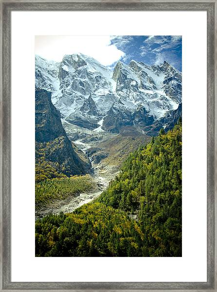 Forest And Mountains In Himalayas Framed Print