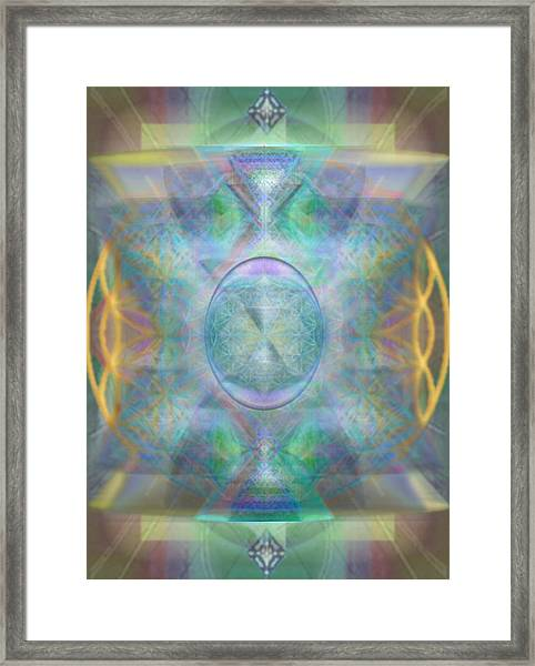 Forested Chalice In The Flower Of Life And Vortexes Framed Print by Christopher Pringer