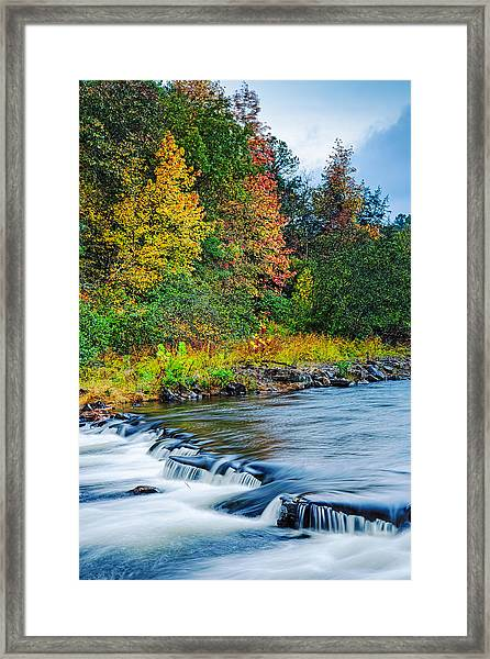 Foretelling Of A Storm Beaver's Bend Broken Bow Fall Foliage Framed Print