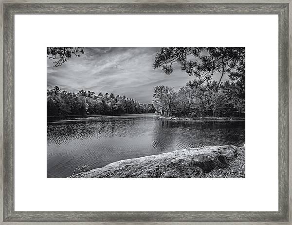 Fork In River Bw Framed Print