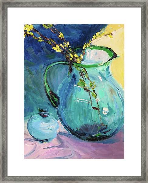 Forsythia In A Glass Jar Framed Print