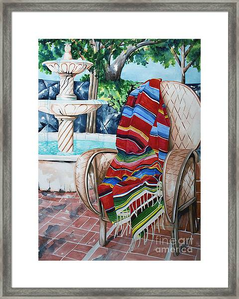 Fountain And Serape Framed Print