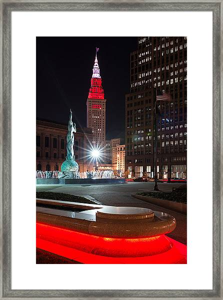 Fountain And Terminal Tower In Red Framed Print