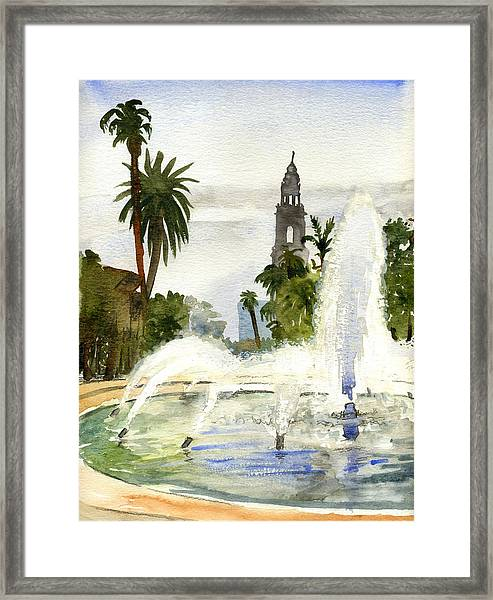 Fountain At Balboa Park Framed Print