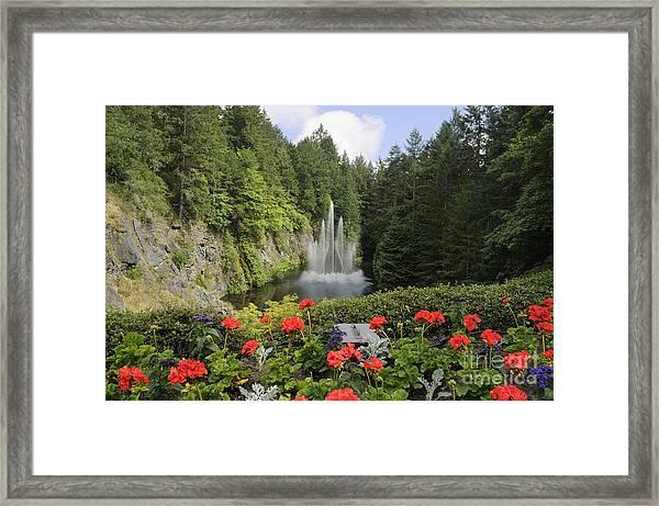 Fountain In Butchart Gardens Framed Print