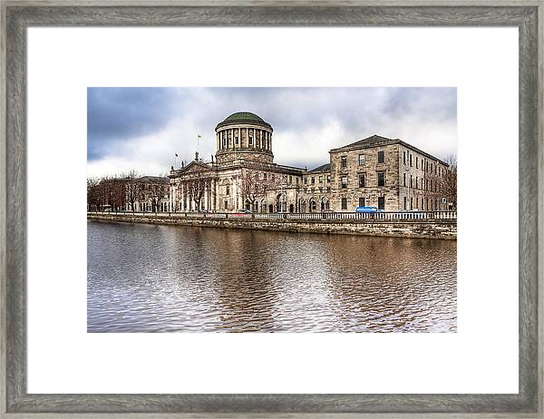 Four Courts On The River Liffey In Dublin Framed Print by Mark Tisdale