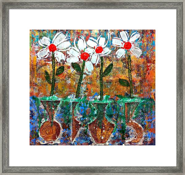 Four Flowers Four Vessels Framed Print