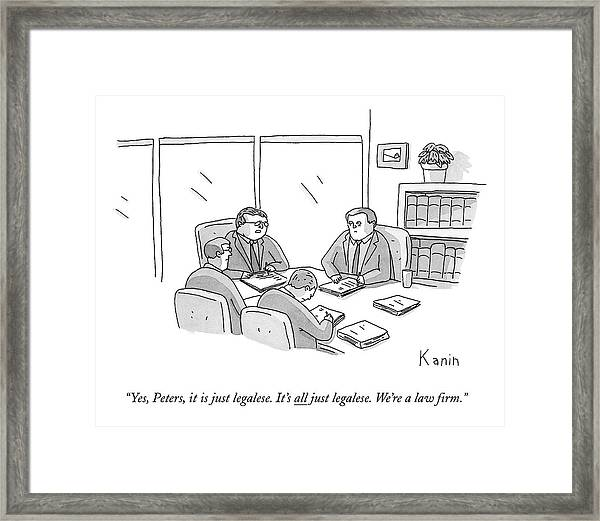 Four Lawyers Speak At A Conference Table Framed Print