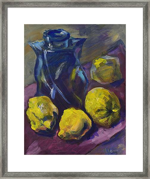 Four Lemons And A Blue Vase Framed Print
