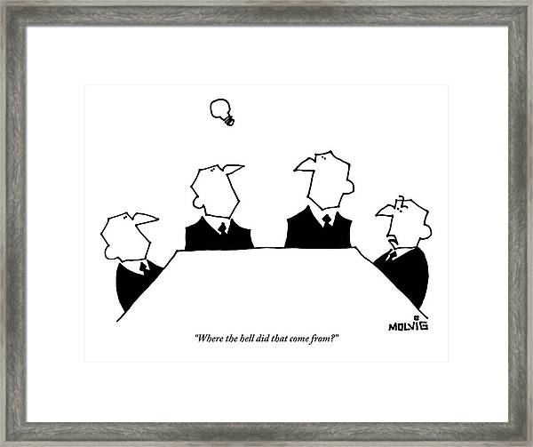 Four Men Sit Around A Table Framed Print by Ariel Molvig