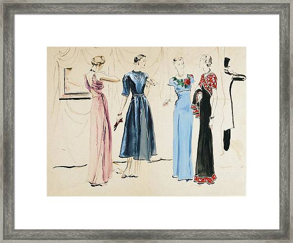 Four Models In Dresses By Alix Framed Print
