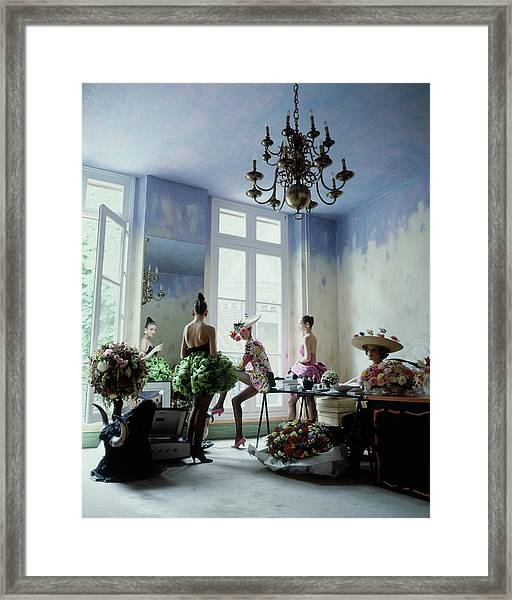 Four Models Inside Christian Lacroix's Studio Framed Print
