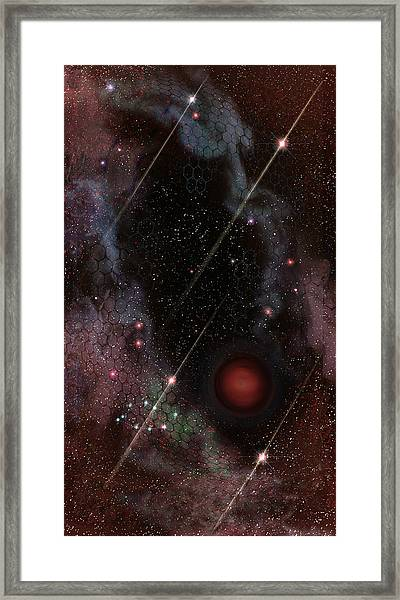 Four Of Wands/stars - Art From The Science Tarot Framed Print