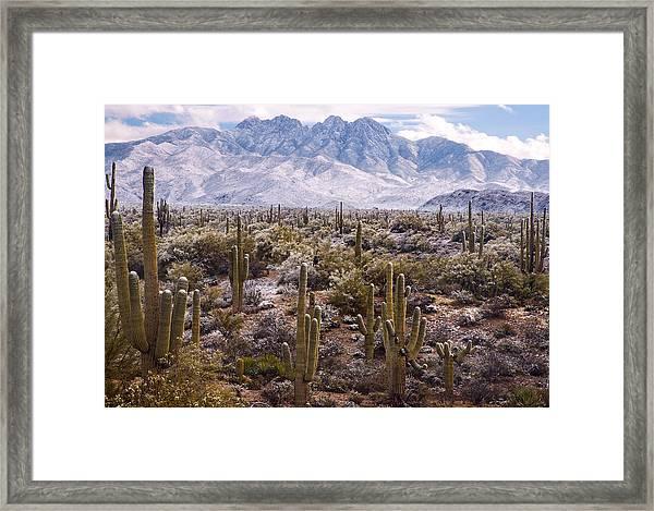 Four Peaks Snowstorm Framed Print