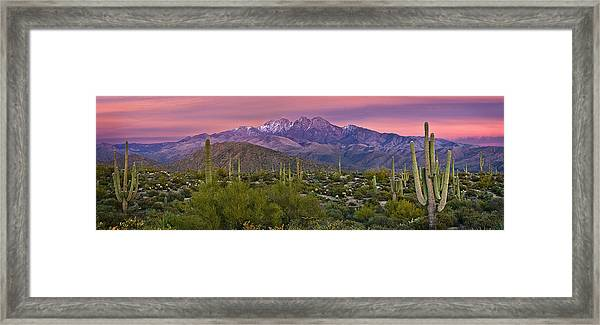 Four Peaks Sunset Panorama Framed Print