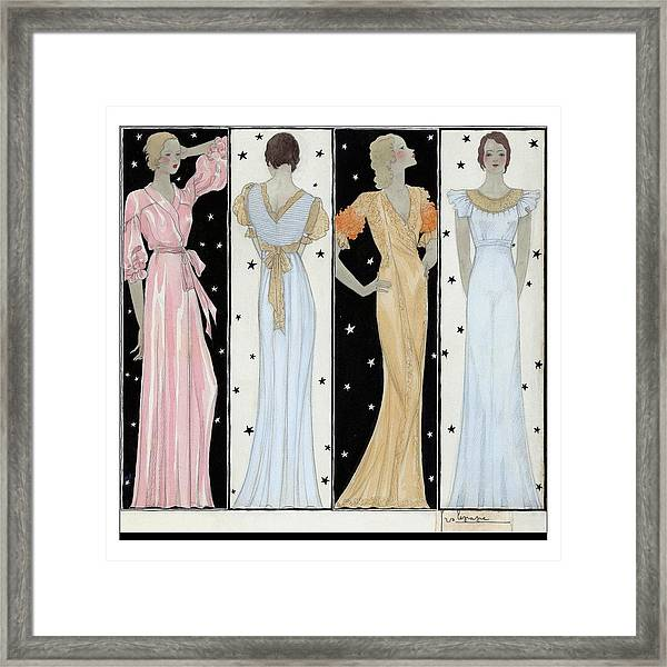 Four Women In Designer Evening Gowns Framed Print