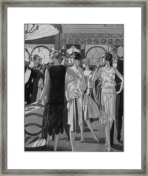 Four Women In Evening Wear Framed Print