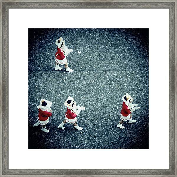 Four Women In Uniforms Marching Framed Print