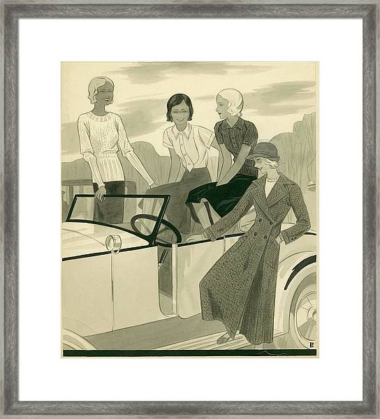 Four Women With A Car Framed Print by William Bolin