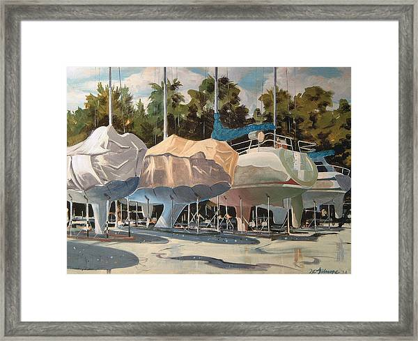Four Yachts At Rest Framed Print
